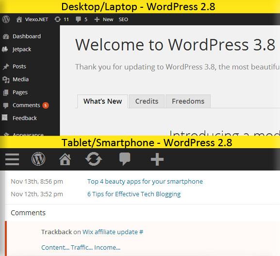 WordPress 3.8 - Tablet vs Desktop