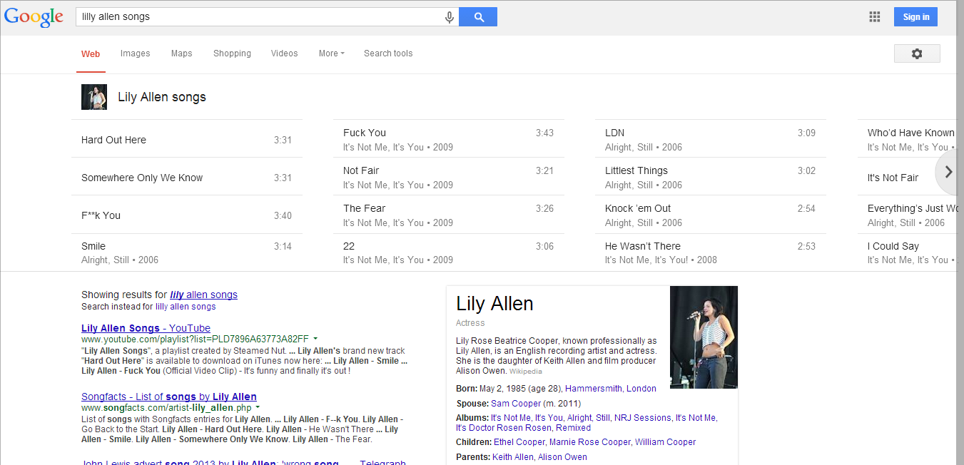 Lilly Allen Songs in the search results