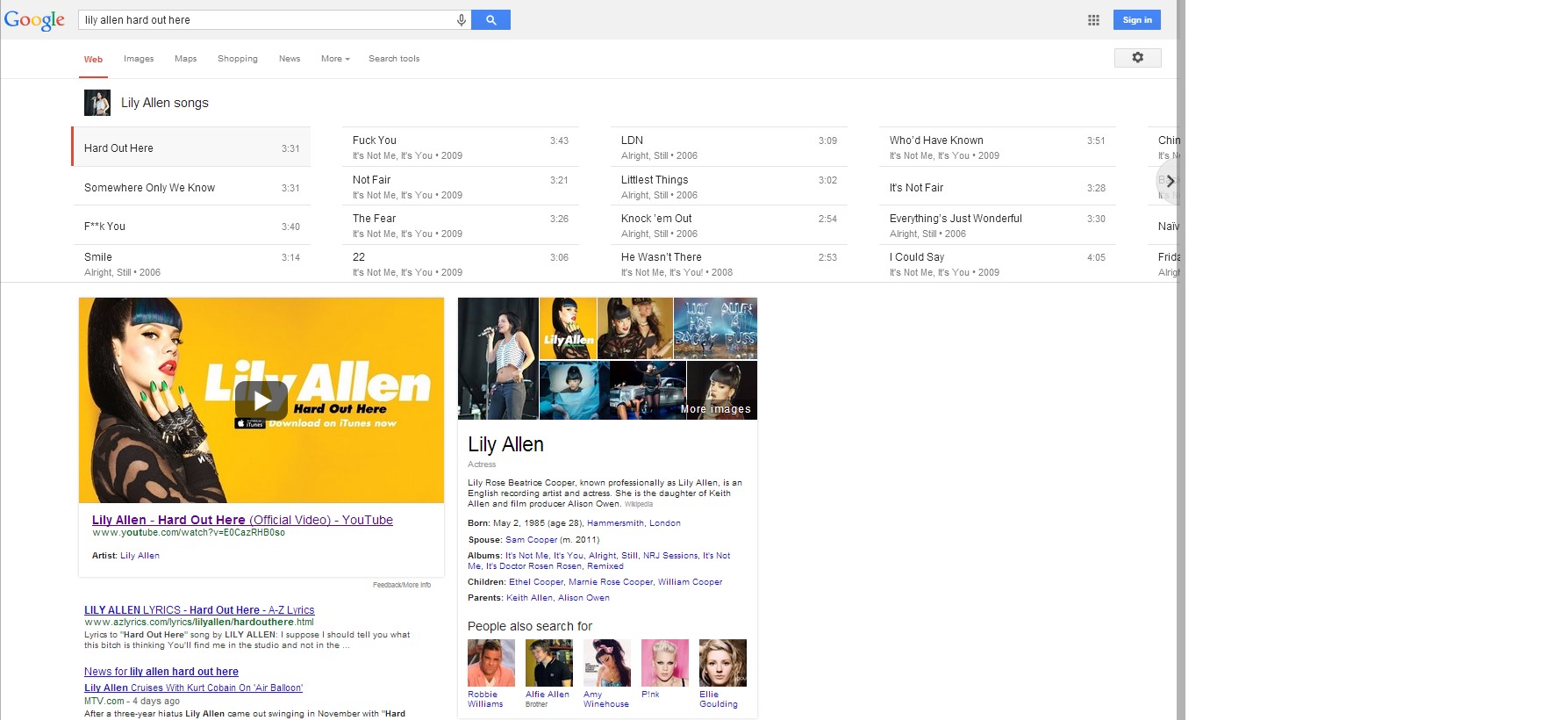 lily allen hard out here google search results semantic search