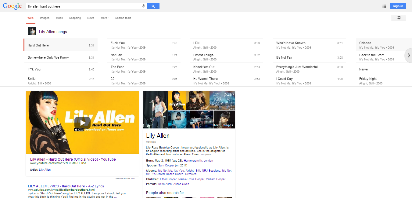 lily allen hard out here - semantic search results