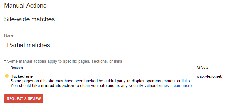 Google Search Console Hacked Site Partial Penalty Message