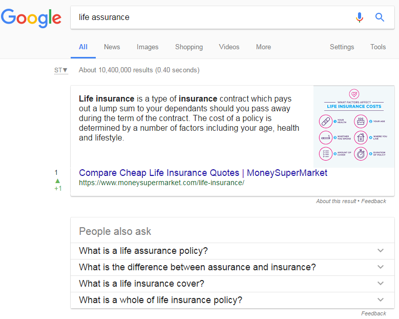 Life Assurance Featured Snippet